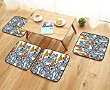 UHOO2018 Modern Chair Cushions Wide Border with Blue Paisley Orange red Roses and Yellow Butterflies Convenient Safety and Hygiene W23.5 x L23.5/4PCS Set