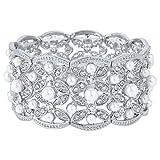 EVER FAITH Austrian Crystal White Simulated Pearl Bridal Leaf Stretch Bracelet Clear Silver-Tone