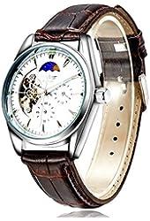 JieDeng Luxury Men Mechanical Watch - Men's Moon Phase Fashion Automatic Self-wind Genuine Leather Strap