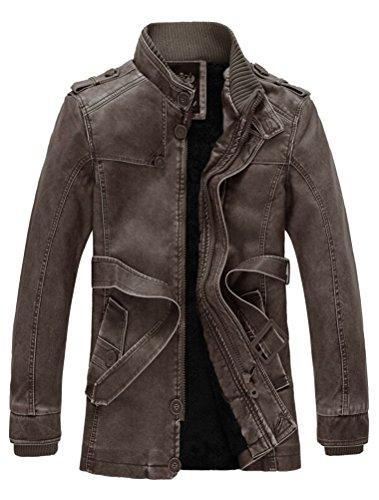 Collo Marrone Pelle In Basic Vogstyle Stile Con Biker Giacca Attillata Uomo Alto 7 qOqFx7A
