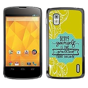 TopCaseStore / la caja del caucho duro de la cubierta de protección de la piel - Quote Text Green Baby Blue - LG Google Nexus 4 E960