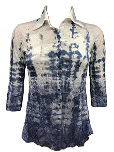 David Cline Woman's Button Down Crushed 3/4 Sleeve Shirt. Super Soft Comfortable Fabric. Water Design. by David Cline (Image #1)