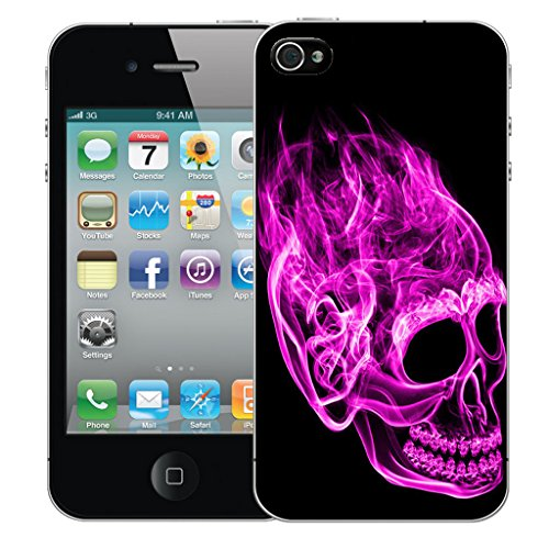 Mobile Case Mate iPhone 5 Silicone Coque couverture case cover Pare-chocs + STYLET - Inferno Skull Pink pattern (SILICON)
