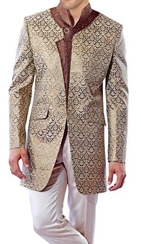 INMONARCH Mens Reception Party Wear Long Coat IN168 42XL Ivory