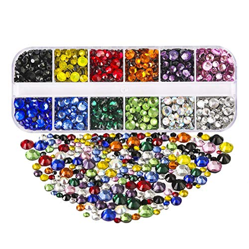 - 5 Sizes Hotfix Crystals Flatback Rhinestones, Dorhui Glass Rhinestones Hot Fix Crystal Rhinestones HotFix Round Crystal Gems 12 Colors 2-6.5 MM (SS6 -SS30) in Storage Box