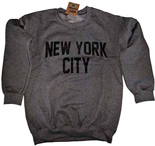 New York City Sweatshirt Screenprinted Dark Heather Charcoal NYC Lennon Shirt (XL)