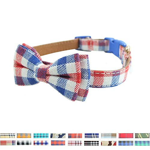 (Bow Tie Dog Collar - Cute Plaid Sturdy Soft Cotton&Leather Dog Collars for Small Medium Large Dogs Breed Puppies Adjustable 18 Colors and 3 Sizes (red/White/Blue Plaid, M 13