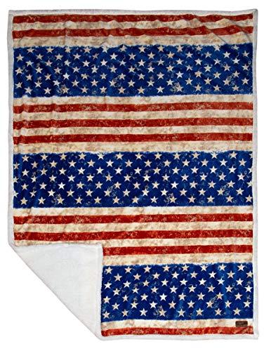 Carstens, Inc Carstens Wrangler Stars & Stripes USA American Flag Sherpa Fleece 54x68 Throw Blanket, White