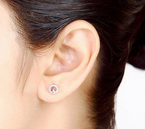 Libertini Boucle d'oreille argent 925 serti de Diamant en forme de Rond