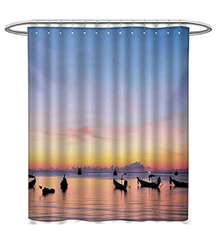 Fishing Shower Curtains Fabric Sunset On Sea Silhouette Ships At Suratthani Asian Bay Relaxation Art Bathroom