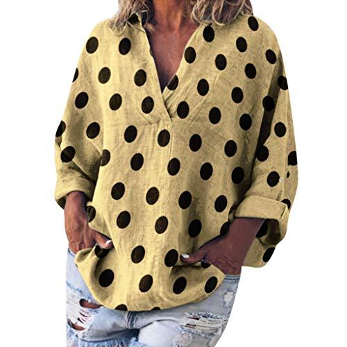 HYIRI Women's Casual Dot Print Long Sleeve V-Neck Loose Shirt Pocket Blouse Tops Yellow