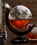 The Wine Savant Etched World Globe Decanter with Antique Ship (Mahogany Stained Wood)