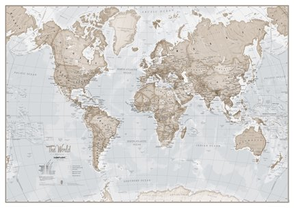 The World Is Art Wall Map Neutral - Paper