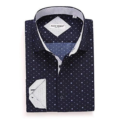 Dot European - Alex Vando Mens Printed Dress Shirts Long Sleeve Regular Fit Casual Fashion Shirt(navy122,XXL)
