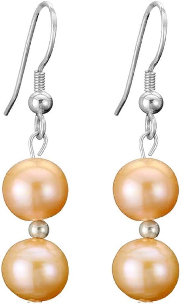 Jyuter12 Pendientes Colgantes De Perlas Hechas A Mano Pendientes De Oro Para Mujeres Mujeres Joyas