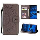 Case for Galaxy S7 PU Leather Flip Wallet Cover, Mistars Tribal Mandala Flower Pattern Embossed Full Body Protection Cove with Card Holder Kickstand Magnetic Closure Shell Inner Soft TPU Silicone Bumper for Samsung Galaxy S7 (5.1 inch) - Grey