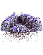 Quertee 10x lavendelzakjes geurzakjes met lavendelbloemen als bescherming tegen motten in de kledingkast met Franse lavendel om te ontspannen en te slapen (10 x 10 g lavendel)