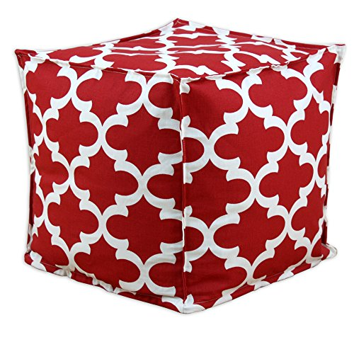 Brite Ideas Living Fynn Timber Wolf Macon Square Seamed Pellet Hassock, 17-Inch, Red/Cream