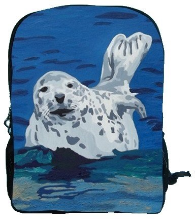 Animal Backpack Bookbag School - Support Wildlife Conservation, Read How, From My Original Paintings (Seal - Playful Pup) - Playful Seal