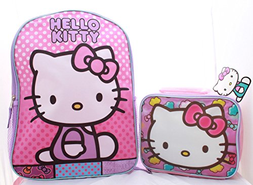 Hello Kitty Backpack School BookBag with Lunch Box Set