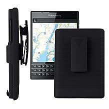 SOJITEK Blackberry Passport Q30 Black Holster Case 2 in 1 Hybrid Hard Shell Holster Combo With Kickstand & Belt Clip