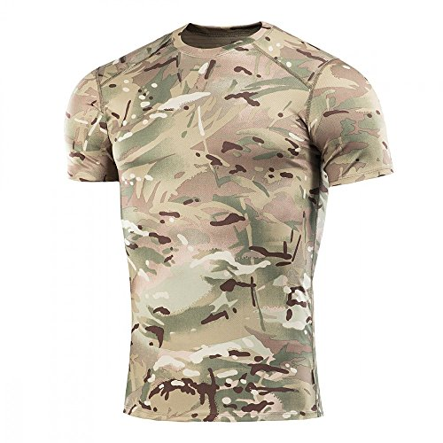 M-Tac Shirt for Men Tactical Athletic T-Shirt Round Neck Short Sleeve (Camo, M)