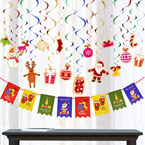 (33 PCS Christmas Party Supplies Festival Hanging Swirl Decoration and Banner for Party)