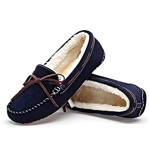26c6271716 ... feetmat Frauen Loafers Lighweight Bow Flachboot Slip-Ons Driving Shoes  Tiefes Blau ...