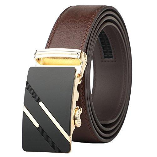 Alderman Men Belt-Leather Ratchet Belt for Men with Sliding Buckle 1 3/8