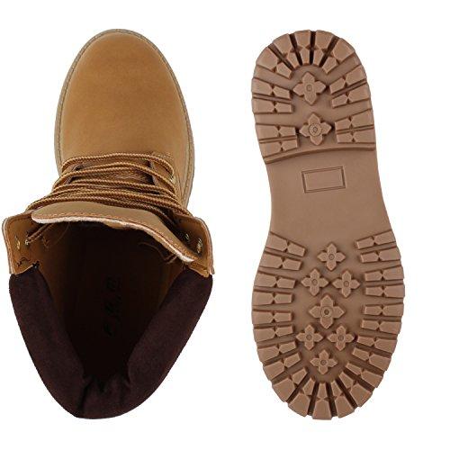 Stiefelparadies Unisex Gefüttert Damen Herren Worker Boots Outdoor Schuhe Profil Sohle Flandell Hellbraun Braun Bernice