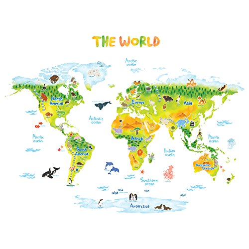 Decowall DLT-1715 Geological World Map with Animals Kids Wall Stickers Wall Decals Peel and Stick Removable Wall Stickers for Kids Nursery Bedroom Living Room - Removable Stickers Nursery