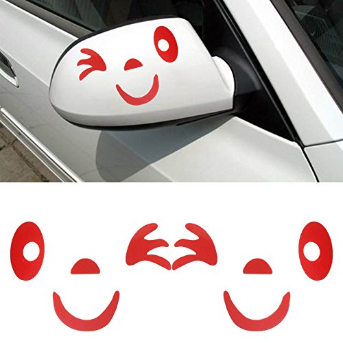 HeFeiuo Car Side Mirror Rearview Stickes Smile Face Design Decoration Waterproof Self-Adhesive And Removable The Car Sticker - Red
