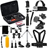 Luxebell 14-in-1 Accessory Kit for Gopro Hero4,hero3+,hero3,hero2 & Hero Camera,package Includes: Head Strap + Chest Strap Mount + Large Size Carry Case + Floating Handle Grip + Bike Handlebar Mount + Suction Cup + Tripod + Tripod/monopod Adapter
