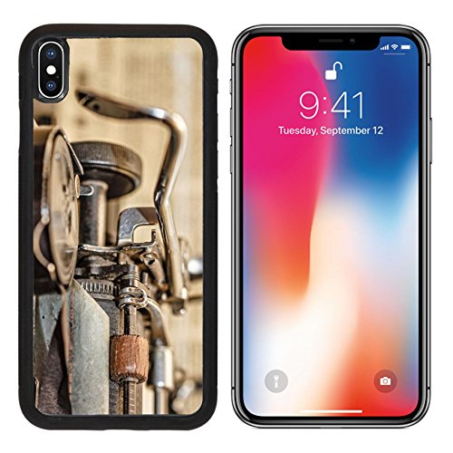 MSD Premium Apple iPhone X Aluminum Backplate Bumper Snap Case Retro vintage typewriter closeup shot office supplies IMAGE 30796767