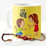 Exciting Lives Happy Rakshabandhan Love You Bhai Mug With Rakhi