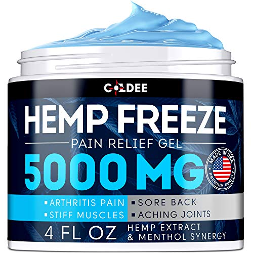 Coldee Pain Relief Hemp Oil Gel - 5000 MG, 4 OZ - Max Strength & Efficiency - Natural Hemp Extract for Arthritis, Knee, Joint & Back Pain - Made in USA - Hemp Cream for Inflammation & Sore Muscles (Left Lower Back Hip And Knee Pain)