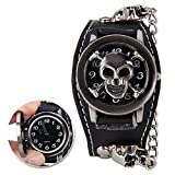 LADARIS Heavy Metal Punk Rock Gothic Skull Mens Wrist Watch With Black Leather Band And Chain