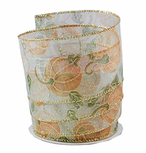 Pumpkin Print Orange & White Sheer Wired Ribbon #40-2.5in x 10 yards by Party Explosions
