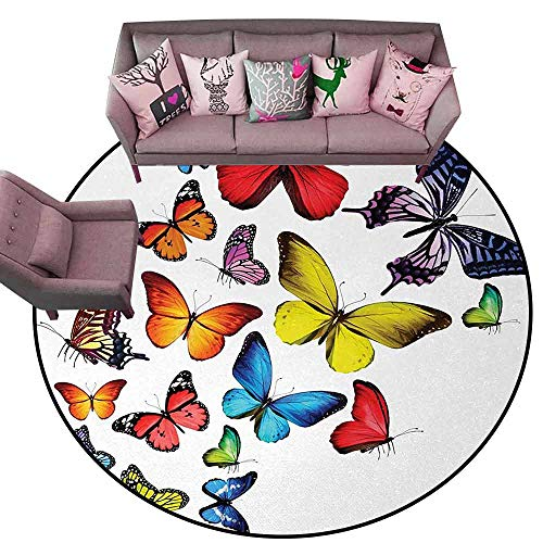 Bathroom Rug Kitchen Carpet Butterflies,Many Different Butterflies Romance Togetherness Joy Wildflowers Hiking Trees,Multicolor Diameter 78