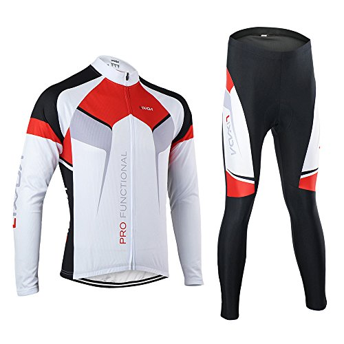 Lixada Men's Long Sleeve Cycling Jersey & Padded Pants Quick-dry Breathable Bicycle Cycling Suits Mountain Bike Road Biking Riding Clothing Set
