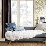 Ashler Soft Faux Sheepskin Fur Chair Couch Cover White Area Rug for Bedroom Floor Sofa Living Room 2 x 6 Feet