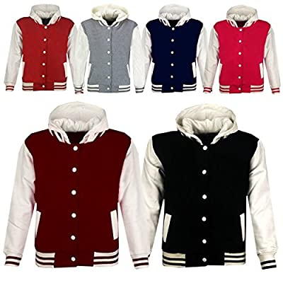 Kids Girls Boys Baseball Plain Hooded Jacket Stylish Varsity Hoodie 5-13 Years