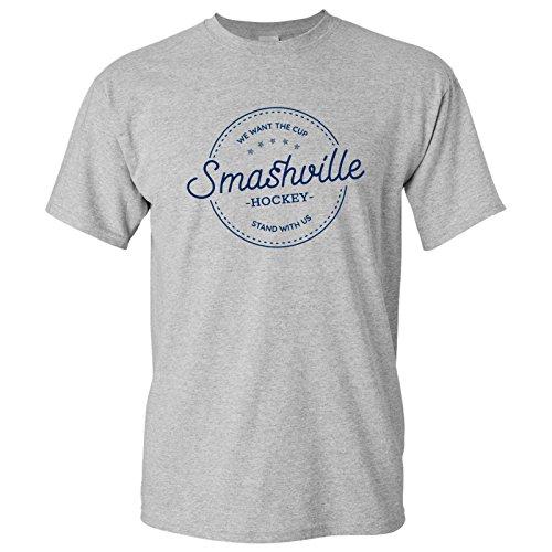 Script Circle (Smashville Hockey - Circle Script Basic Cotton T-Shirt - X-Large - Sport Grey)