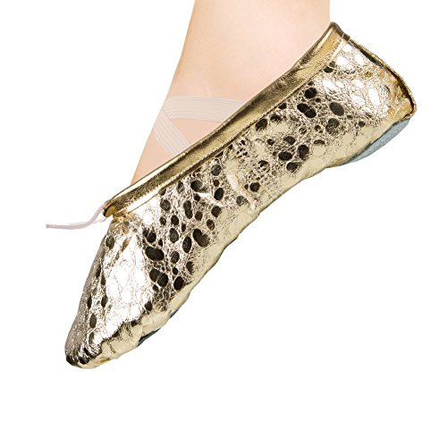 Ballet Slipper Shoes Pointe Leather Split Sole Practice Ballet Dancing Gymnastics Shoes Ballet Flat Slipper Yoga Shoes Gold US8