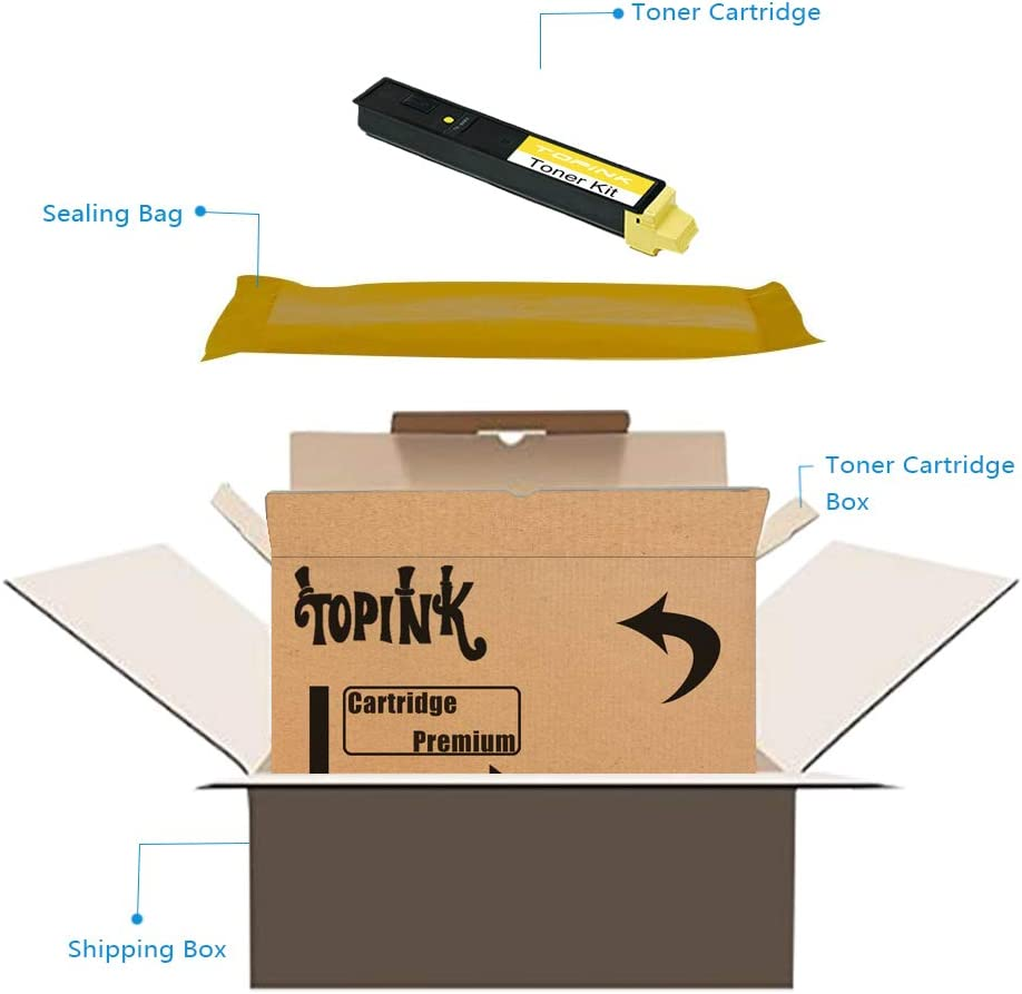TopInk TK-899 Replacement for Copystar CS-205C Printer Toner Cartridge High Yield-2 Yellow