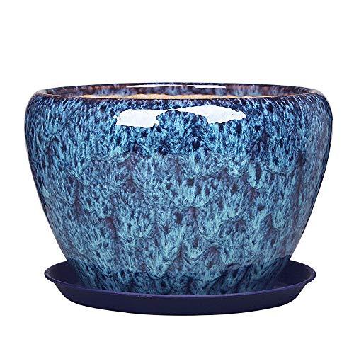 XHZJ Ceramic Basin with Tray, Desktop Creative Ceramic Basin, Ceramic Peacock Blue Multi-Color Large Chinese Home Green Plant Hanging Orchid Potted Potted Plants. (Size : Extra Large Size)