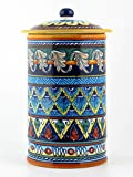Hand Painted Italian Ceramic 13-inch Canister Geometrico 40E - Handmade in Deruta