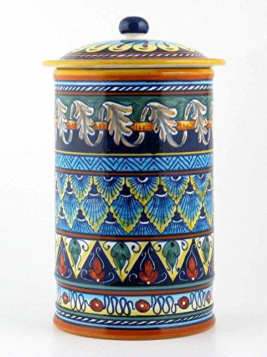 Hand Painted Italian Ceramic 13-inch Canister Geometrico 40E - Handmade in Deruta by Eugenio Ricciarelli