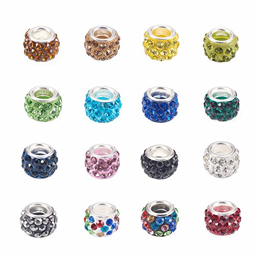 NBEADS 100pcs Mixed Color Pave Crystal Clay Beads, Rhinestone Large Hole European Charms Beads fit Bracelet Jewelry Making (Hole Jewelry)