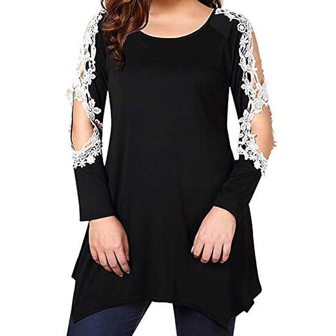 JiaMeng Camisas Mujer, Camisa Larga de la Blusa Larga del Remiendo del Cord¨®